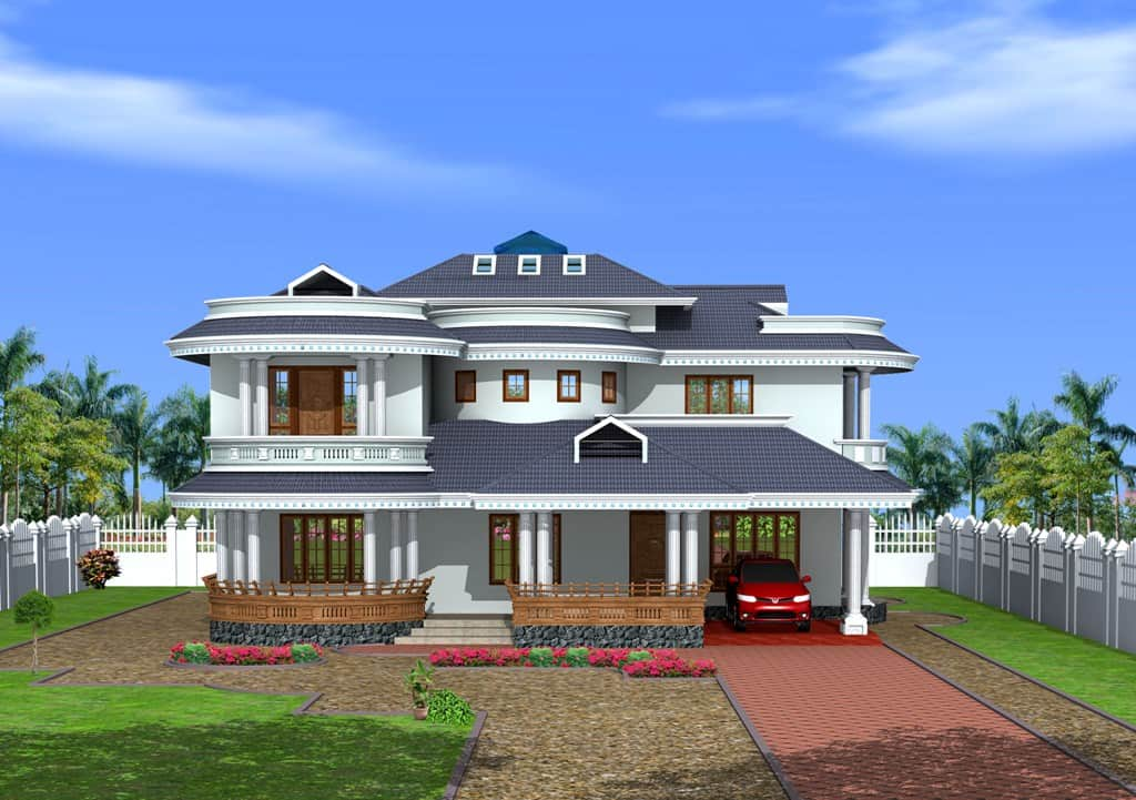 Bungalow design in kerala style at 3350 for Home style photo