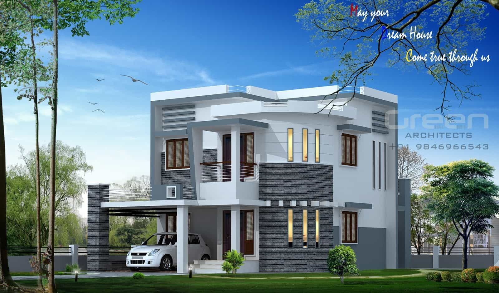 Kerala house plans with elevation photos for Elevation of kerala homes