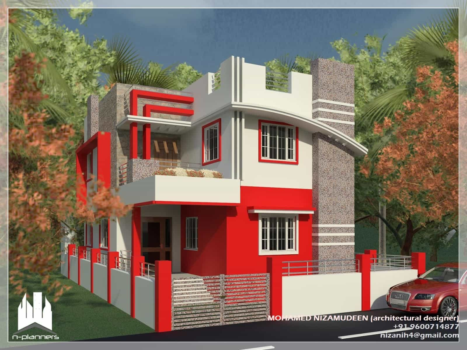 Contemporary Style House Design At 1375 Sq Ft