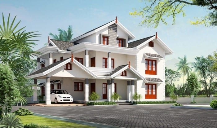 Exterior 5 bhk villa design at 3450 for Exterieur villa design