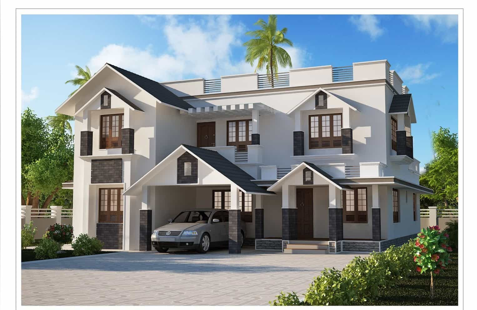 Two storey kerala house designs 2 7 keralahouseplanner for Home designs for kerala