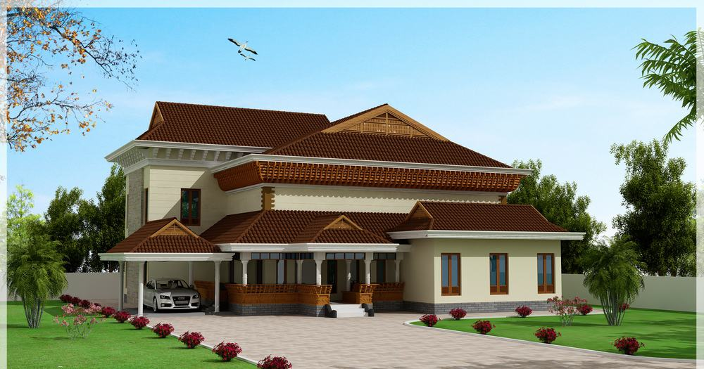 Traditional and beautiful kerala house elevation at 3186 for Kerala traditional home plans with photos