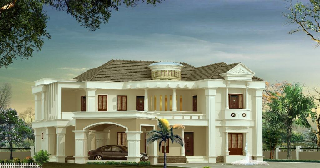 Bungalow style Kerala House Elevation at 3500 sq.ft