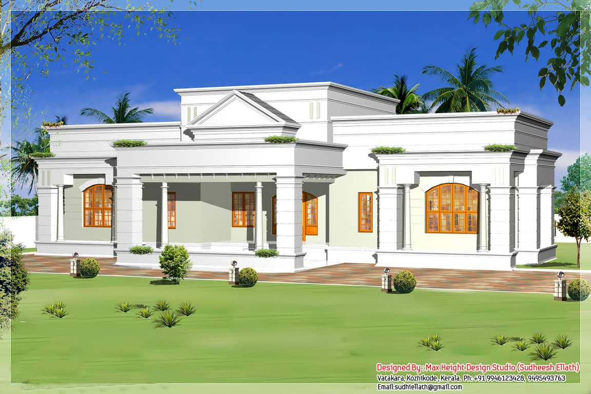 Kerala home designs photos in single floor 1250 sq ft khp for Single storey bungalow design