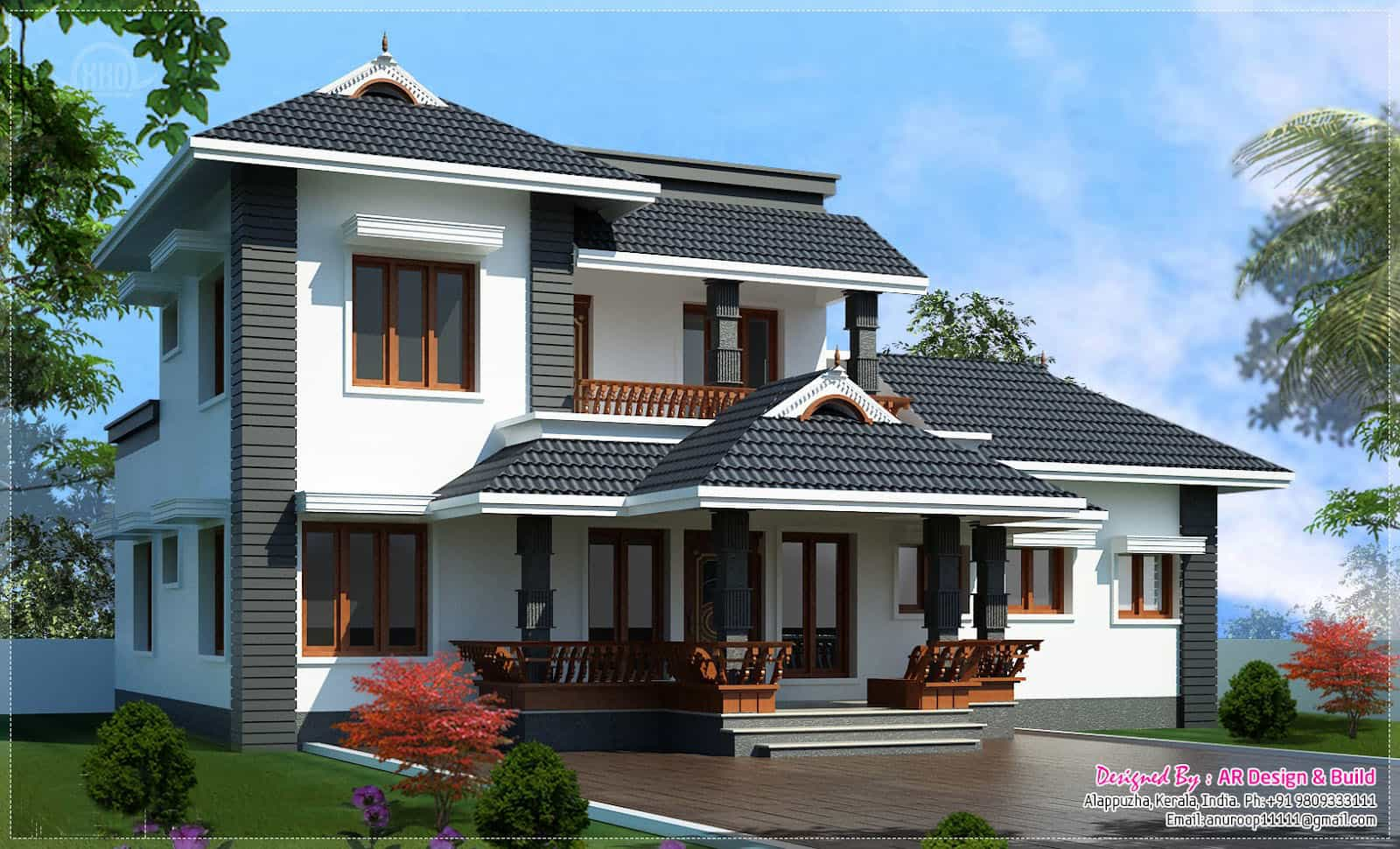 Sloping roof kerala house design at 2000 for Kerala home designs com