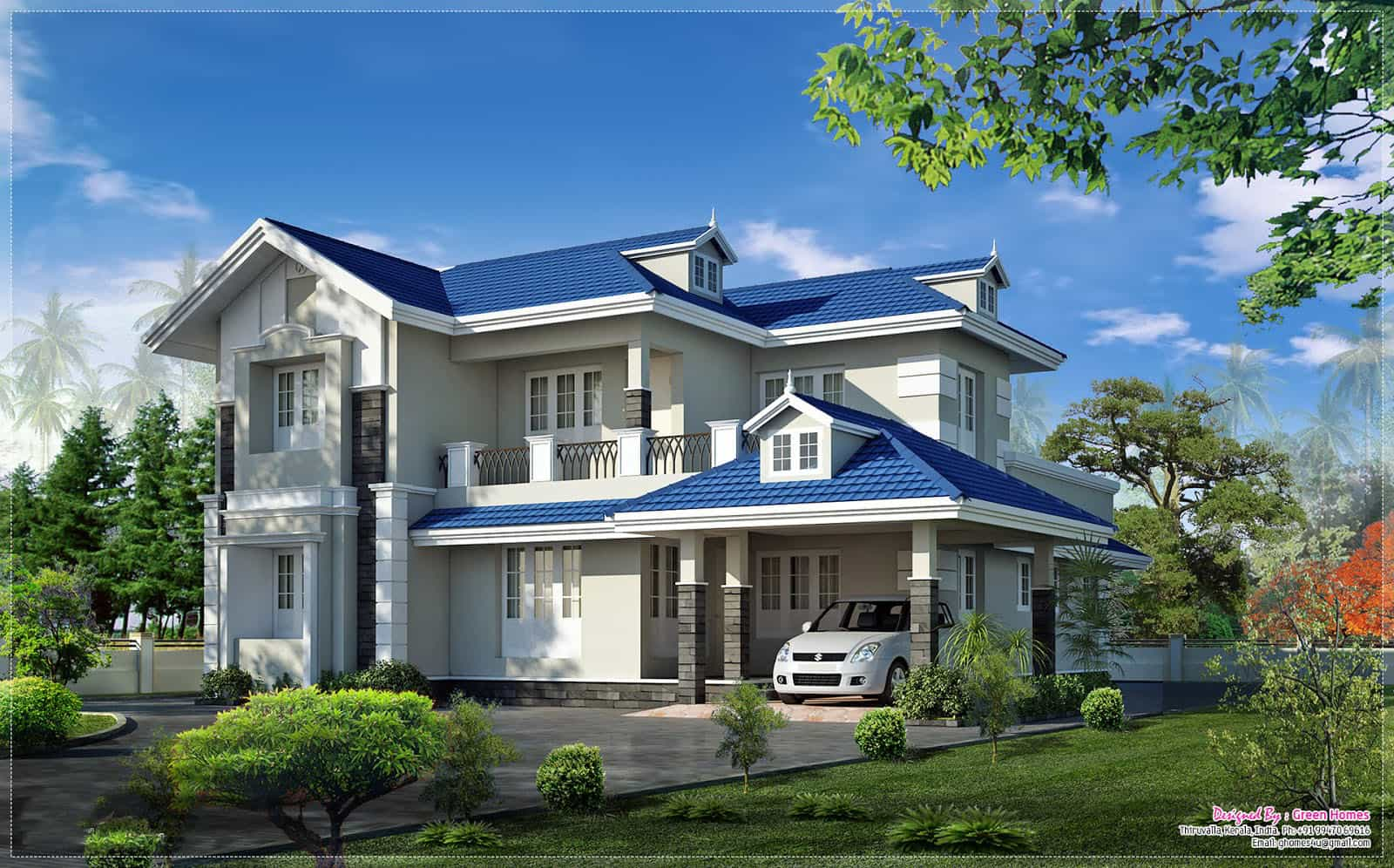 Very beautiful kerala home elevation at 2415 for Very beautiful house