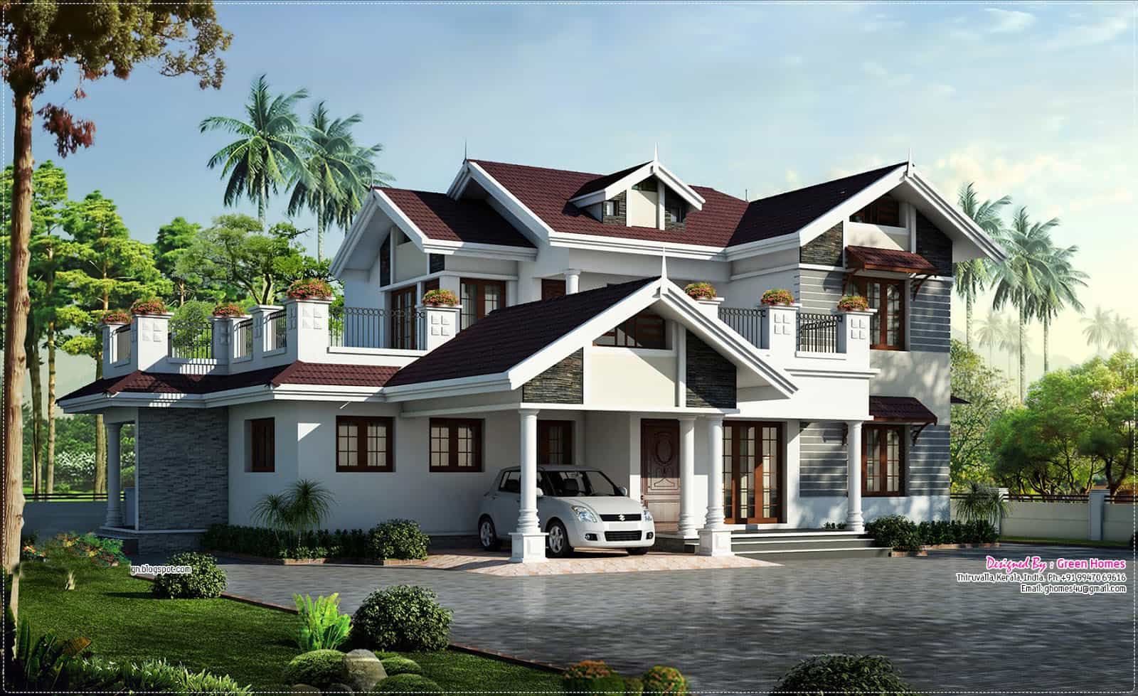 Beautiful house plans with photos in kerala escortsea for Colonial style home design in kerala