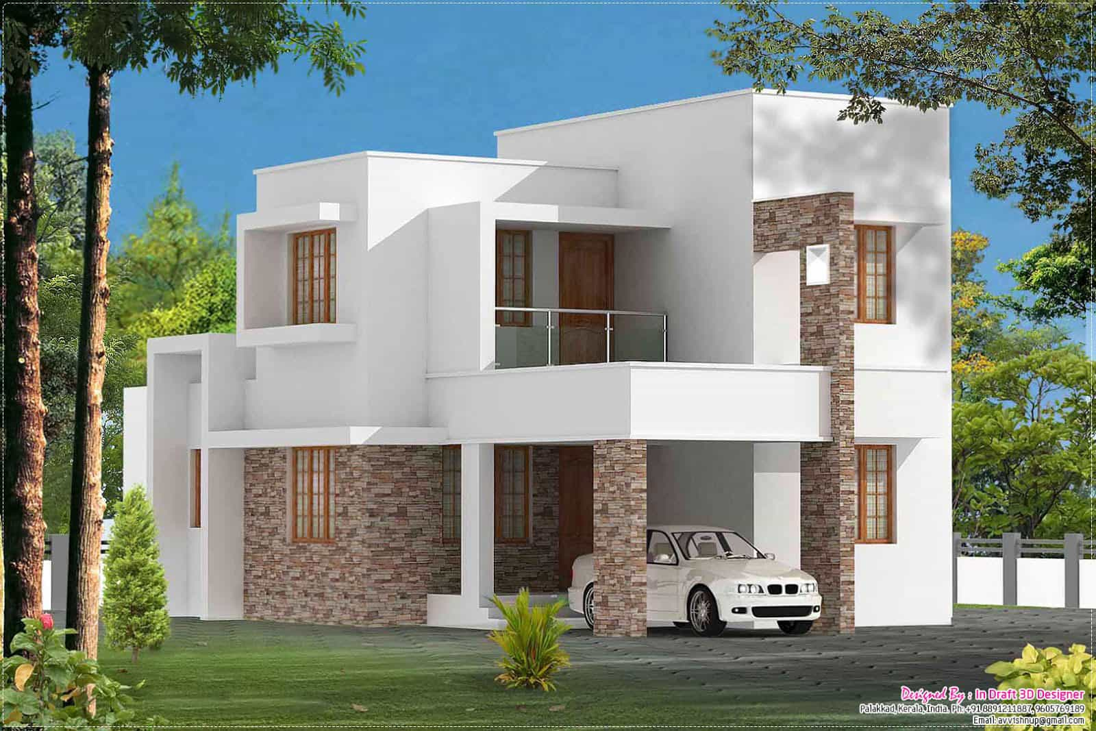 3 bedroom contemporary kerala home at 1680 for Modern three bedroom house plans