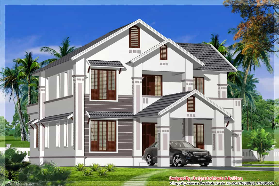 Sloping roof kerala home design at 2400 for The model house