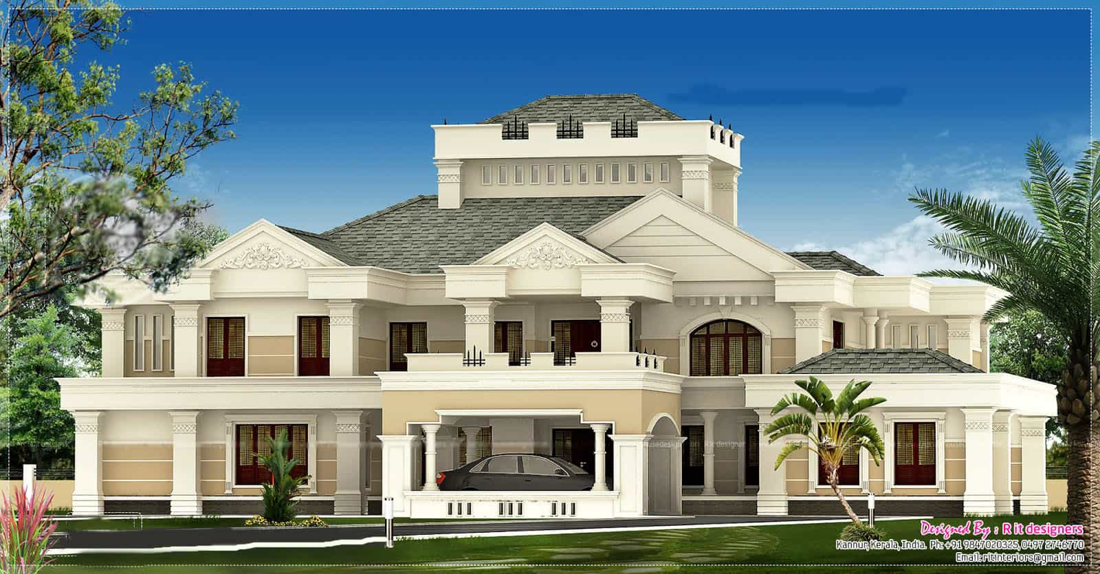 Luxurious kerala bungalow design at 5676 for Good house photos