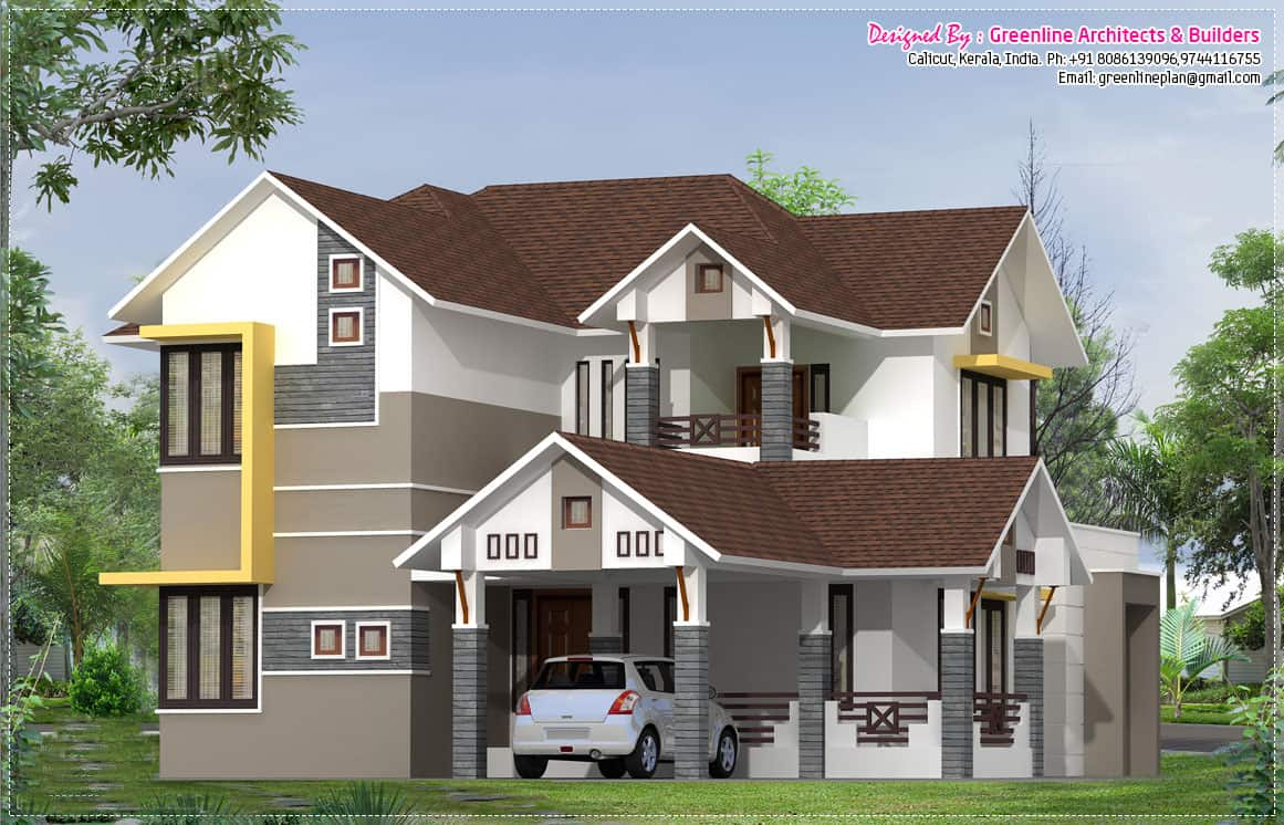 Modern kerala home design at 2400 for Modern house plans 2400 sq ft