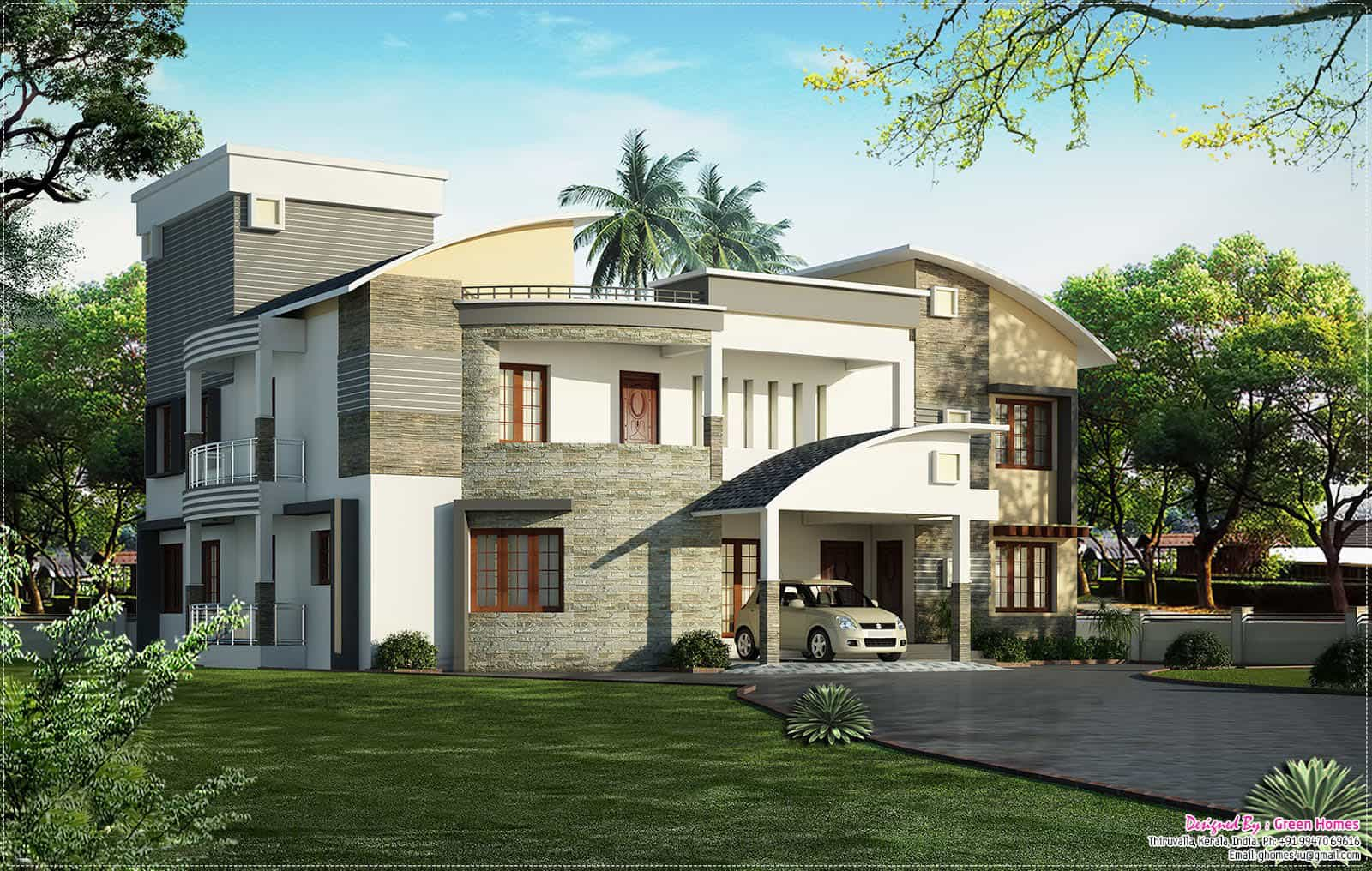 Latest kerala house model at 4400 for Latest house elevation