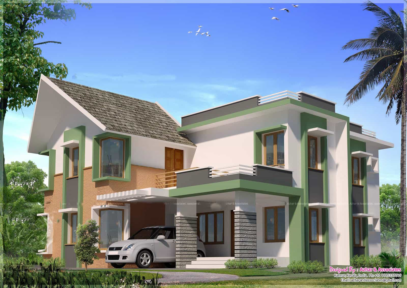 Kerala house plans with estimate for a 2900 home design for Contemporary model house