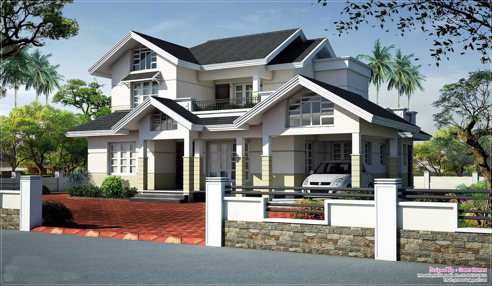 Modern House Plan Sloping oof levation June Kerala Home Design ... - ^