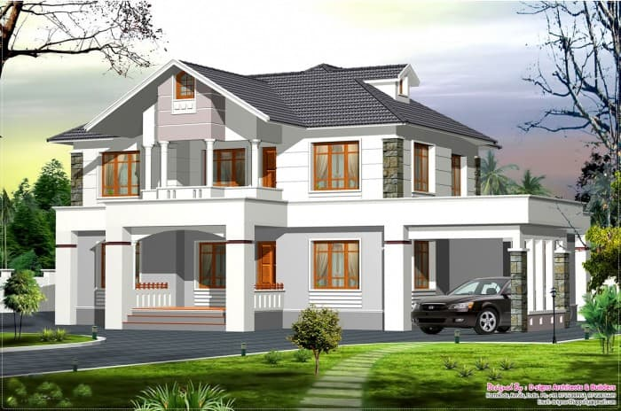 Amazing western style kerala home at 2400 for Western style homes pictures