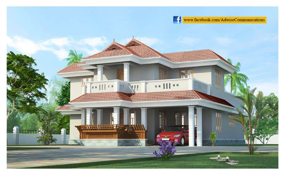 Beautiful 2 story kerala house design at 2786 for Beautiful two story homes
