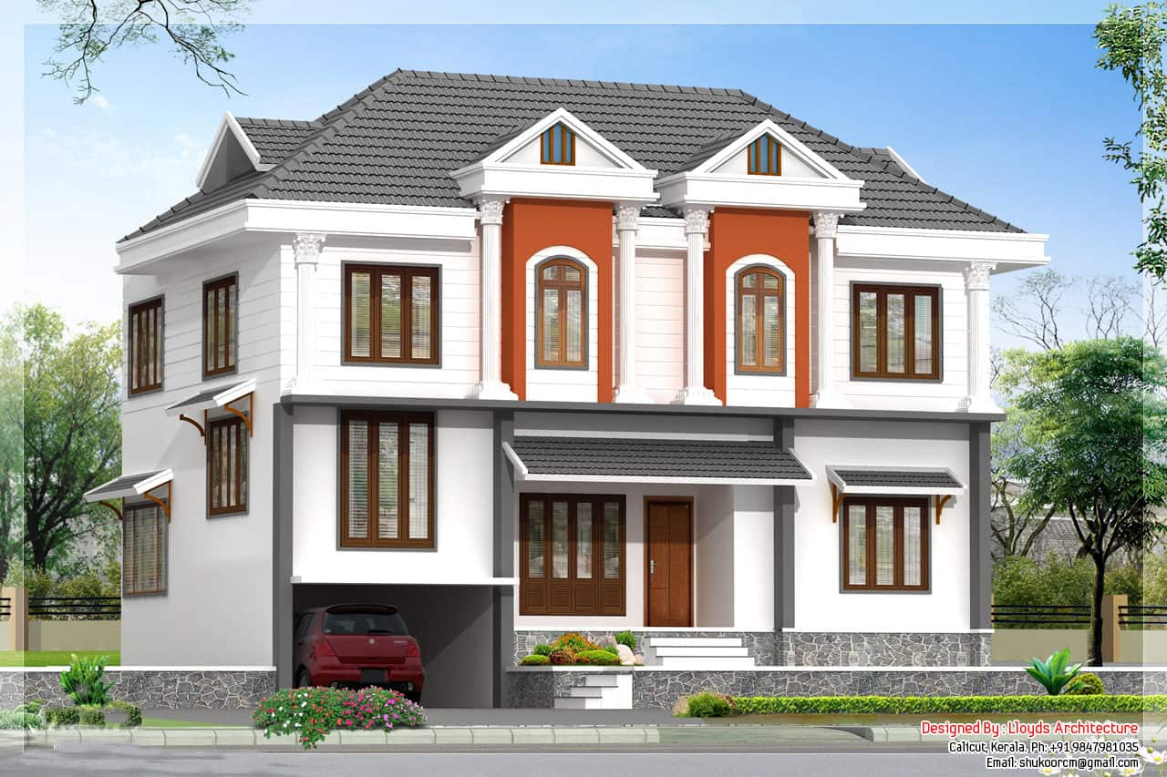 2172 kerala house with 3d view and plan for Villa house plans