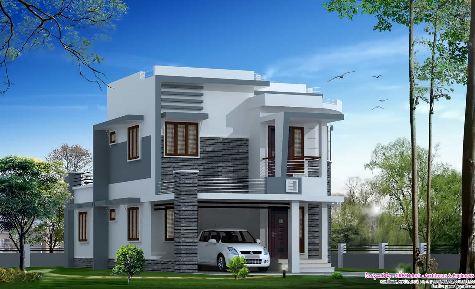 Modern Single Floor Kerala Villa At 1350 Sq.ft
