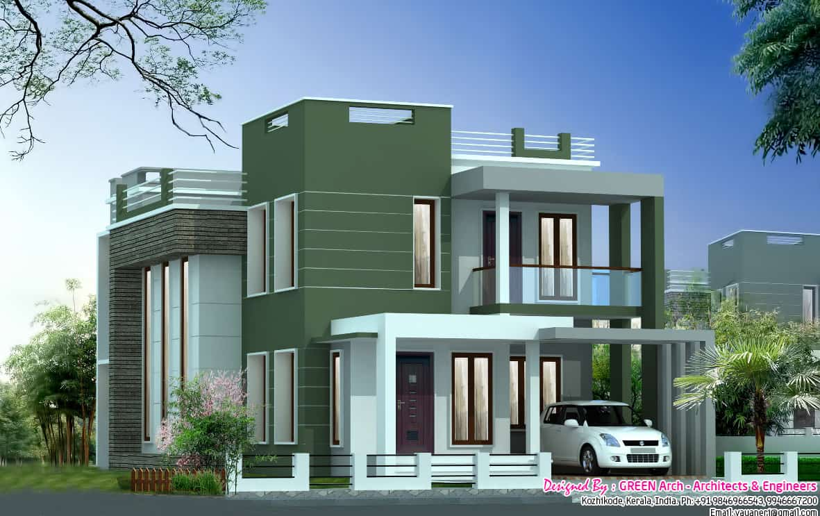 Ravishing contemporary villa elevation at 2100 for Modern villa plans and elevations