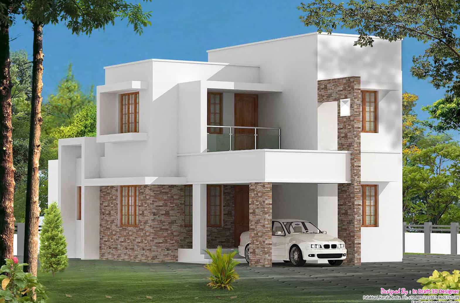 Simple 1700 3 bhk villa design for Simple house design for small space