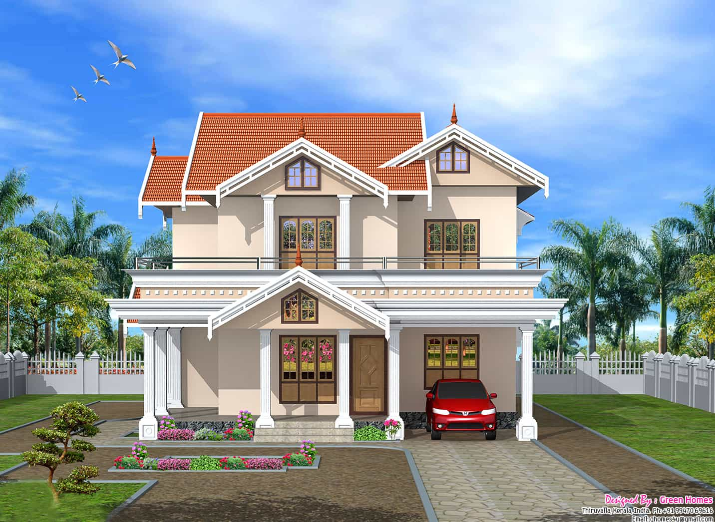 Very cute 2750 kerala home design - Beautiful front designs of homes ...