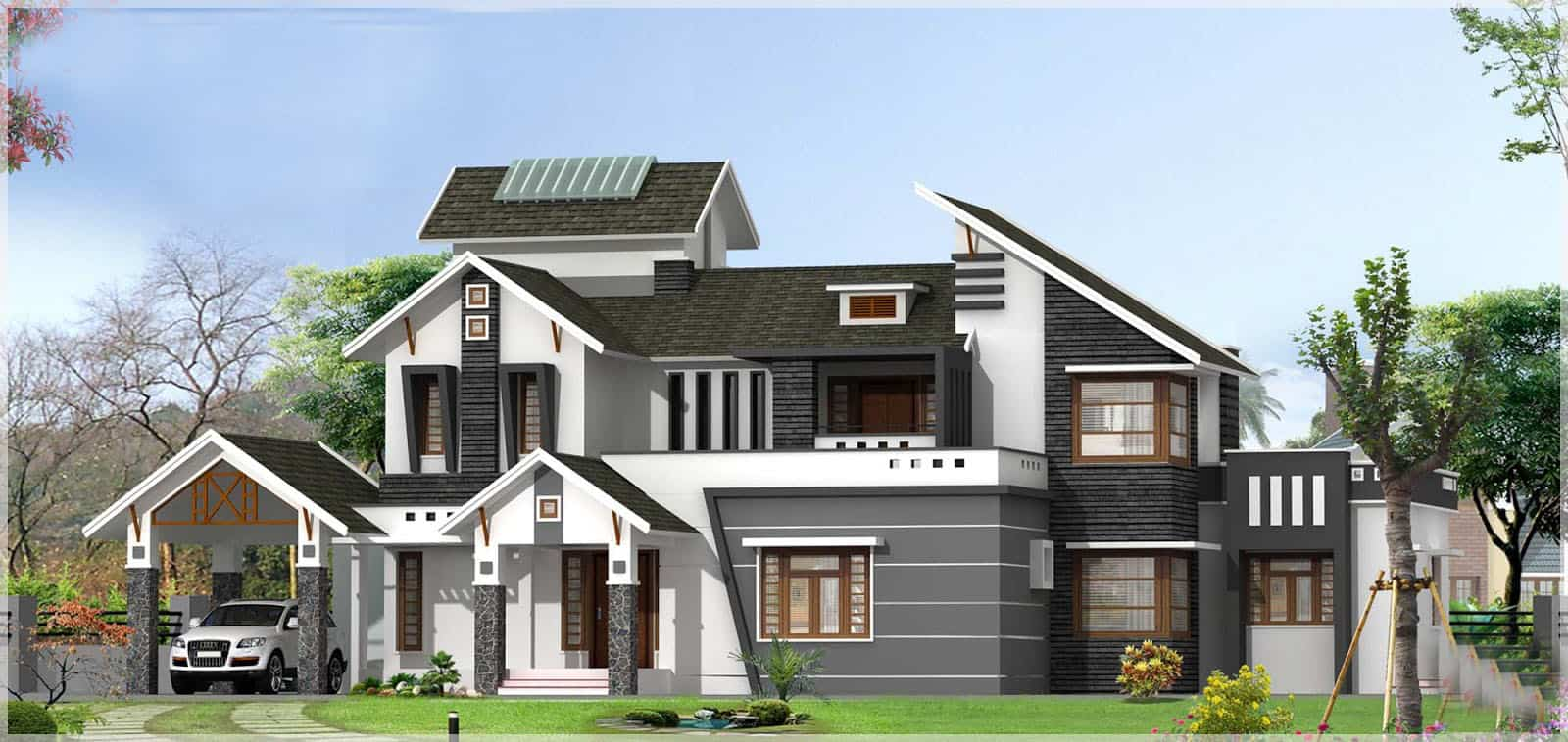 Sloping roof kerala house design at 3136 with pergolas for Beautiful model house