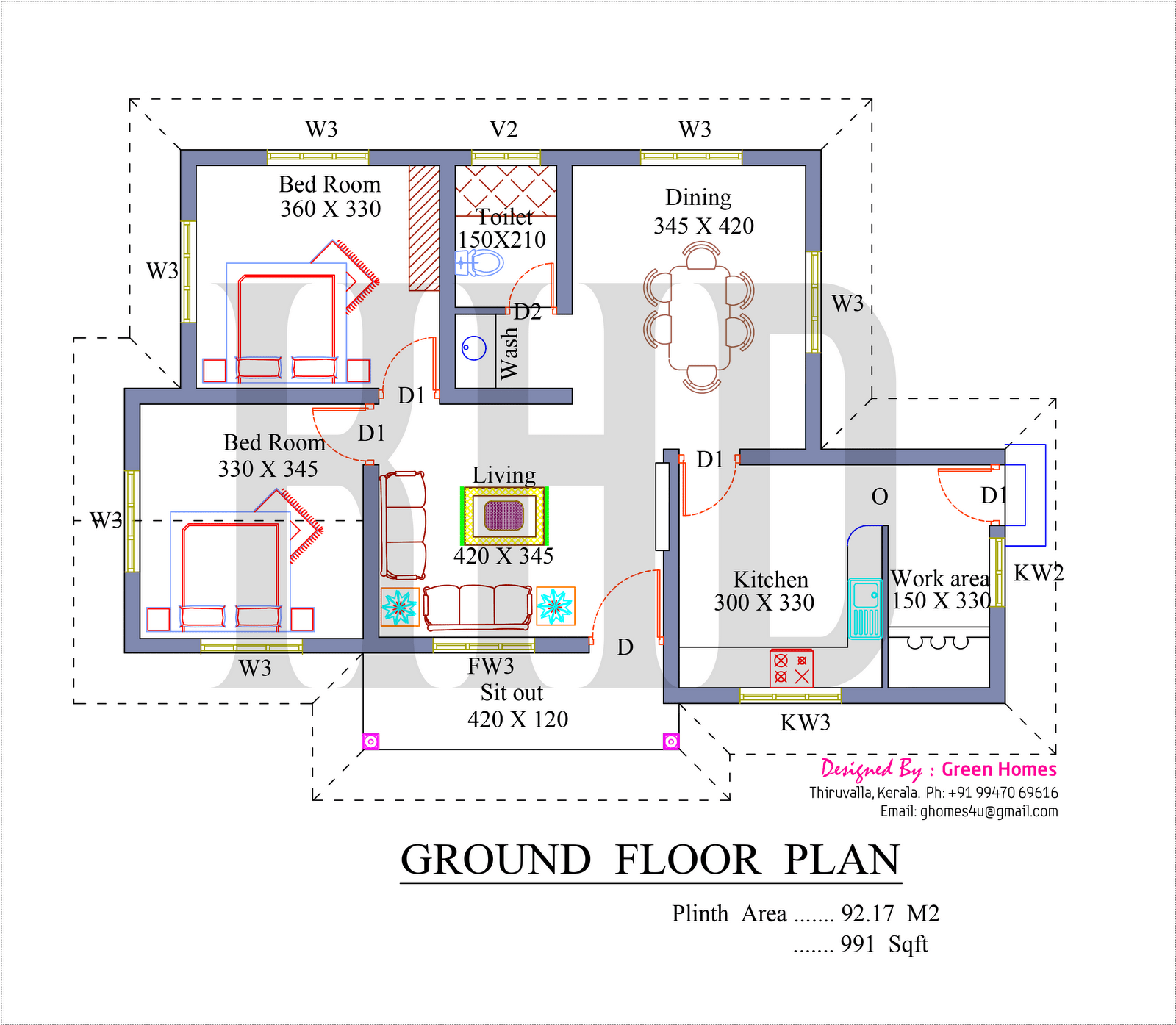 Low cost house in kerala with plan photos 991 sq ft khp for House plans in kerala with 2 bedrooms