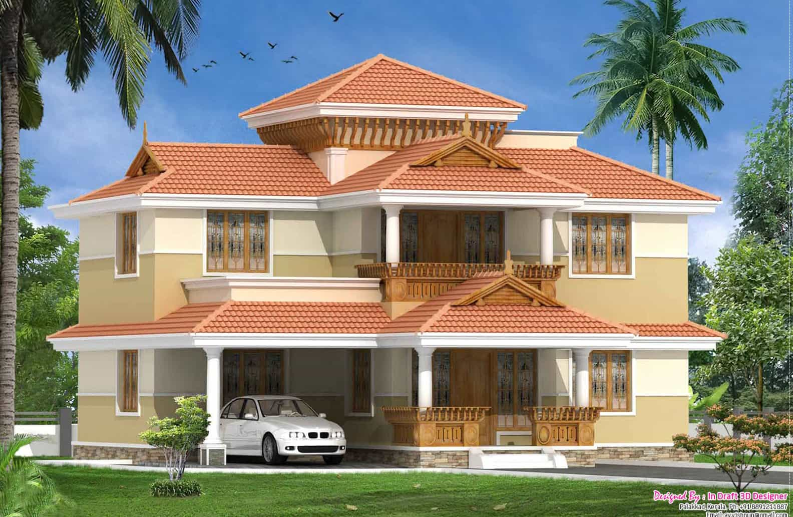 Traditional malayalee 3bhk home design at 2060 for Kerala style villa plans
