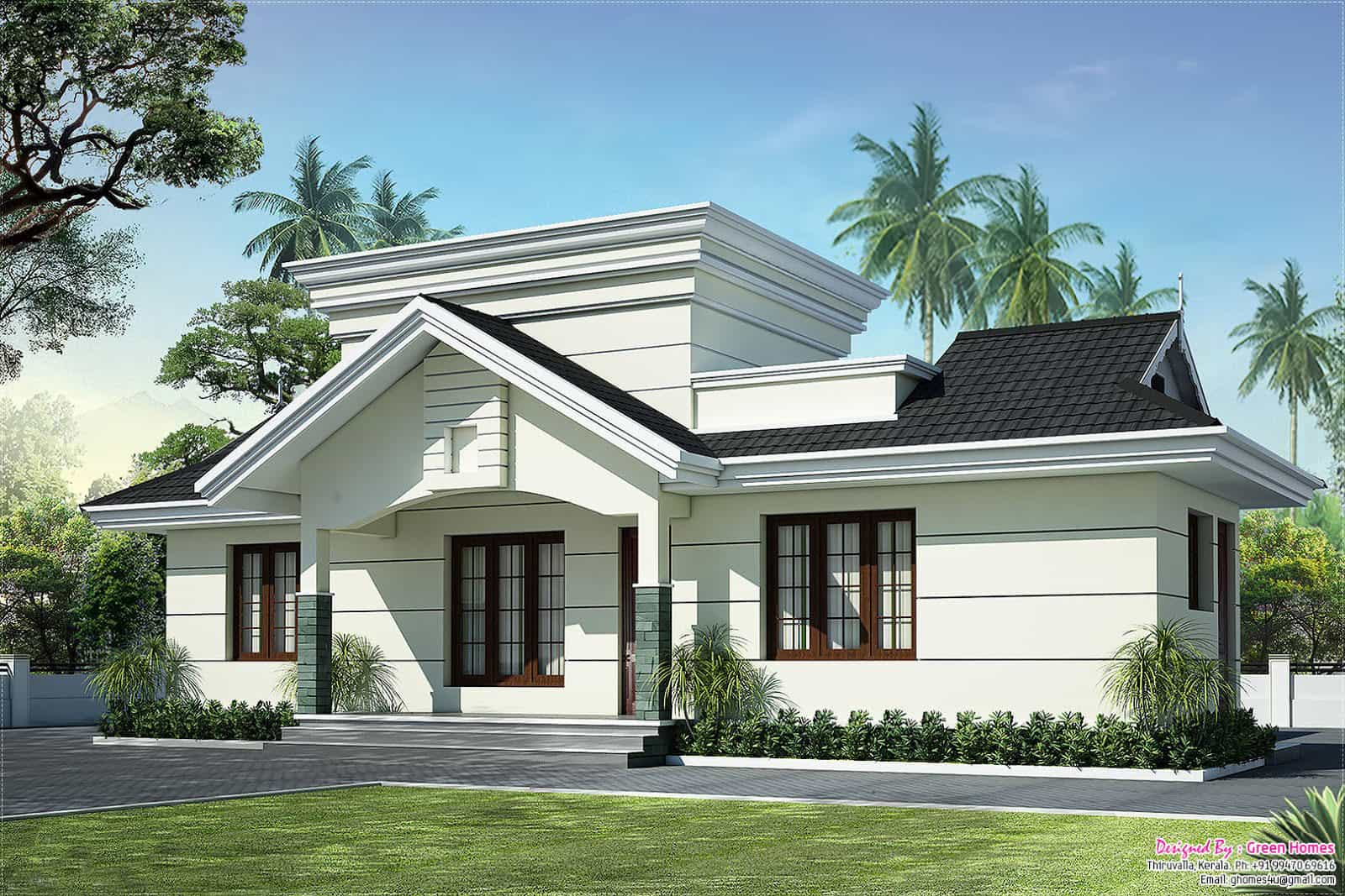 Low cost house in kerala with plan photos 991 sq ft khp for Single floor house plans