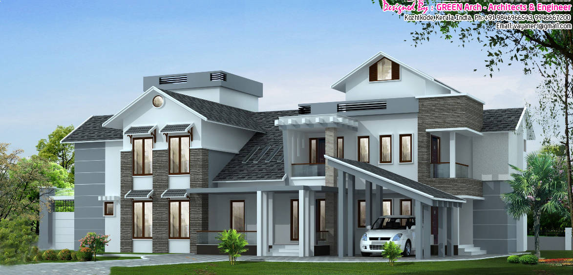 5bhk luxury kerala villa design at 3700 New luxury house plans