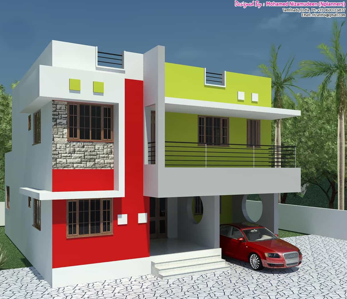 Affordable Basic 3BHK home design at 1300 sq.ft.