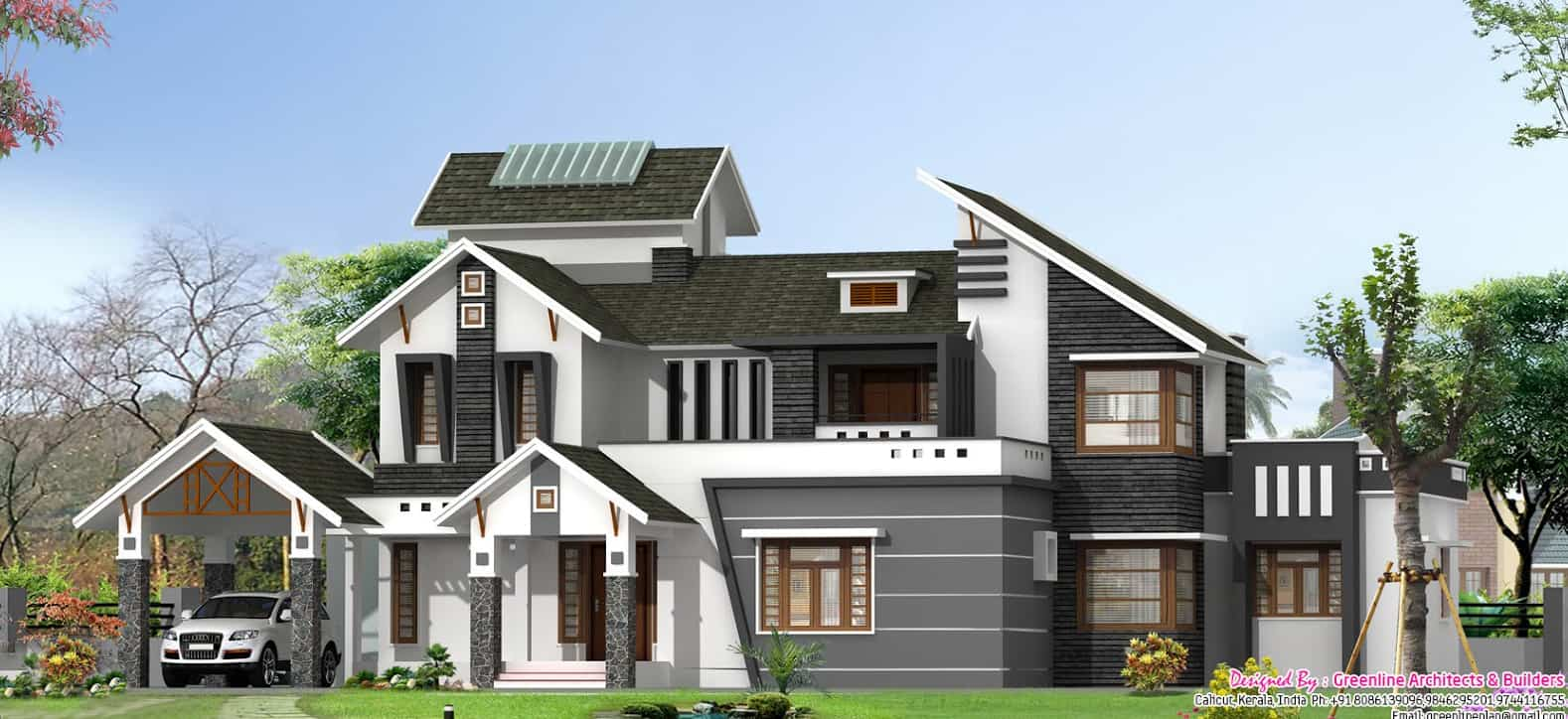 Latest stylish 5bhk villa elevation at 3130 for Home designs usa