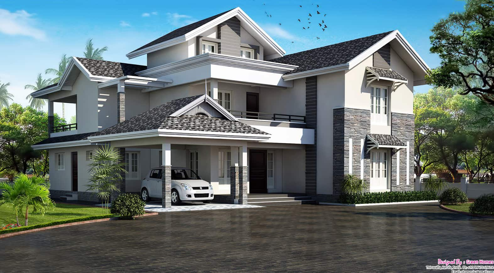 3600 5bhk modern sloping roof kerala villa design Modern home construction