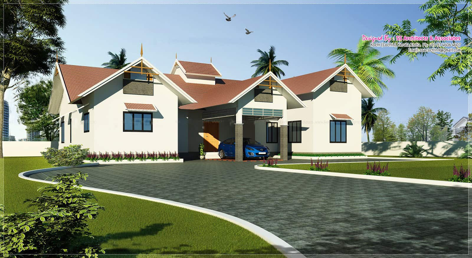 Kerala house plans and elevations for Single house design