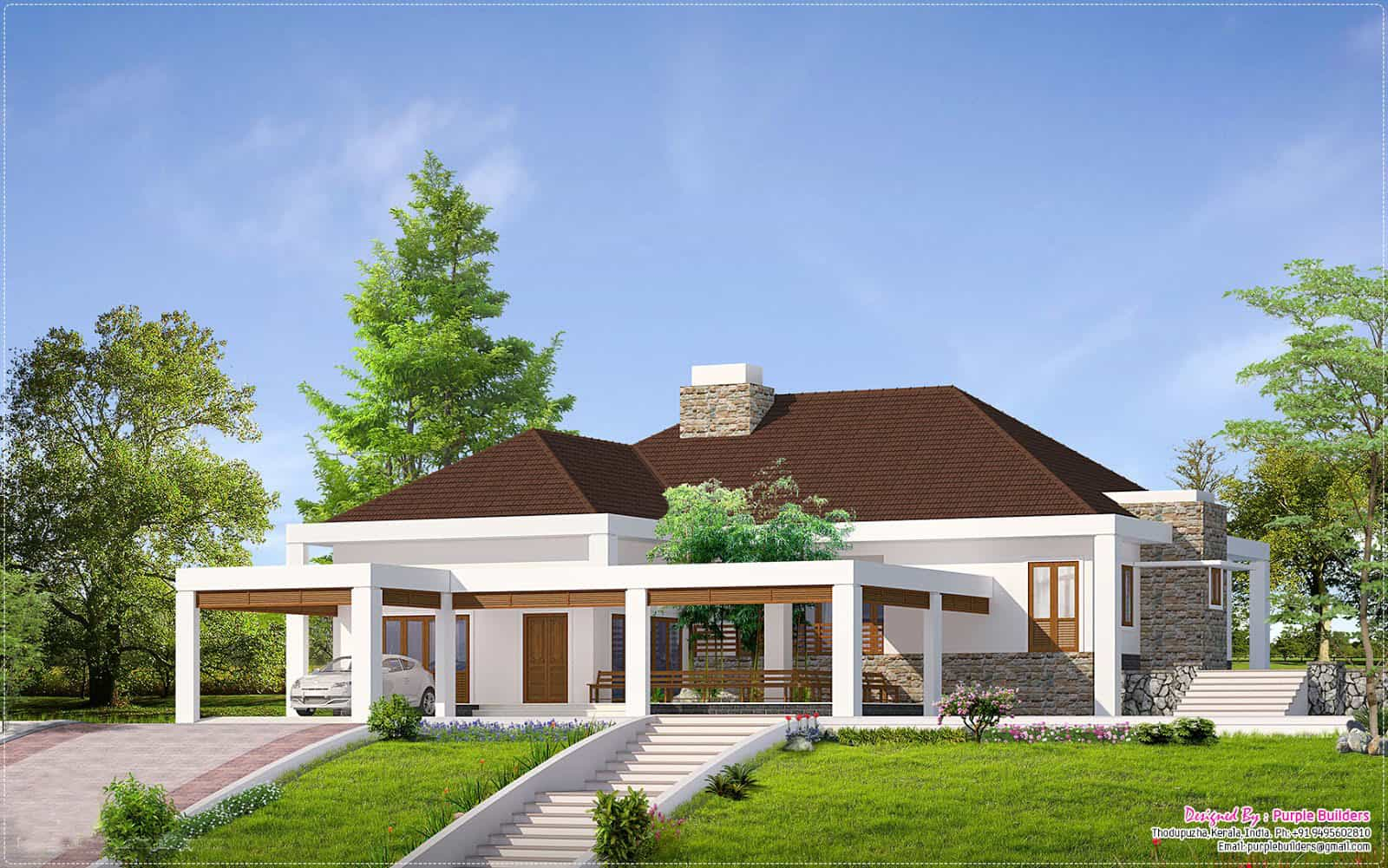 Beautiful kerala house design with outside 39 nadumuttam 39 for Building model houses