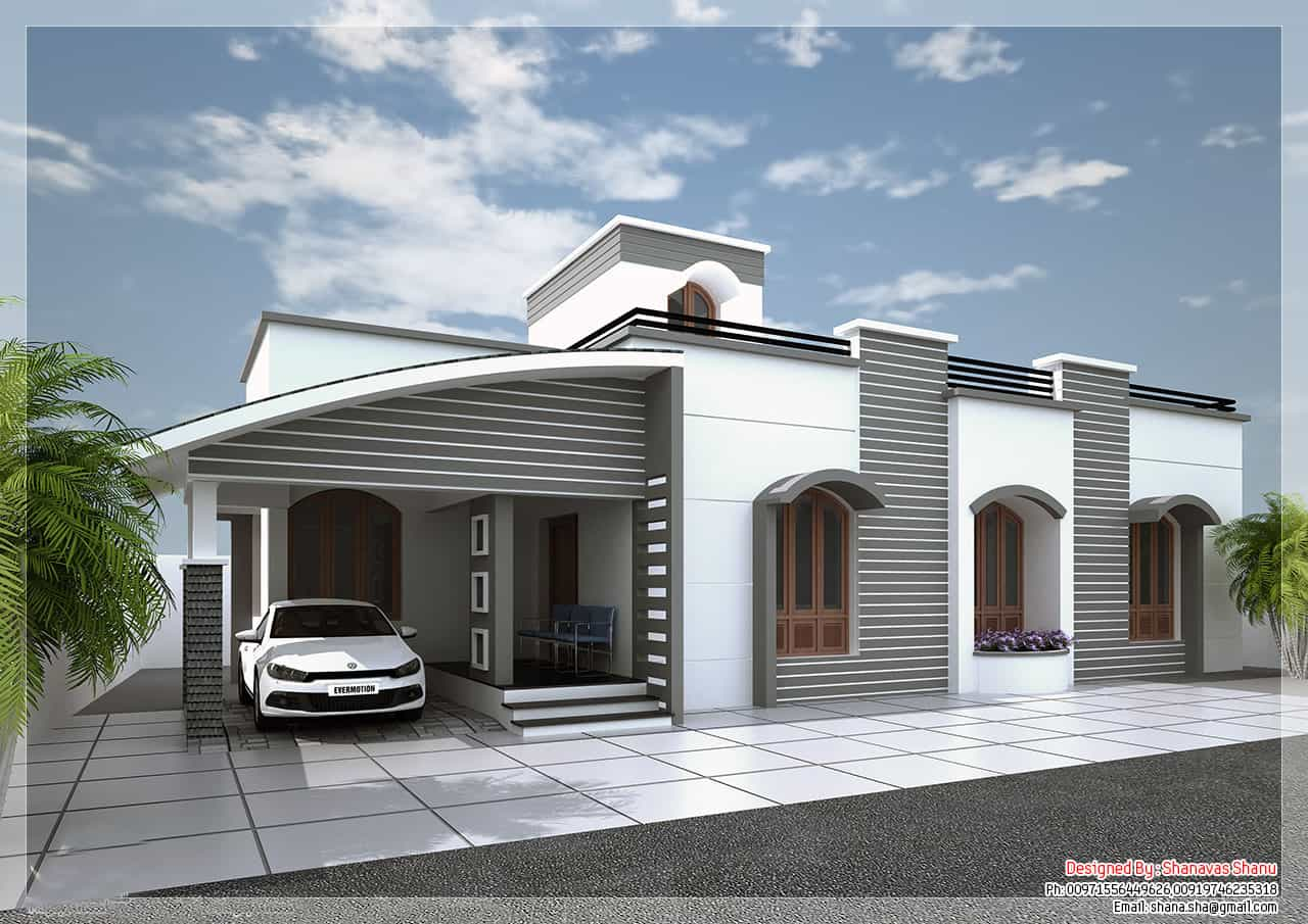 Modern single floor kerala villa at 1350 Villa designs india