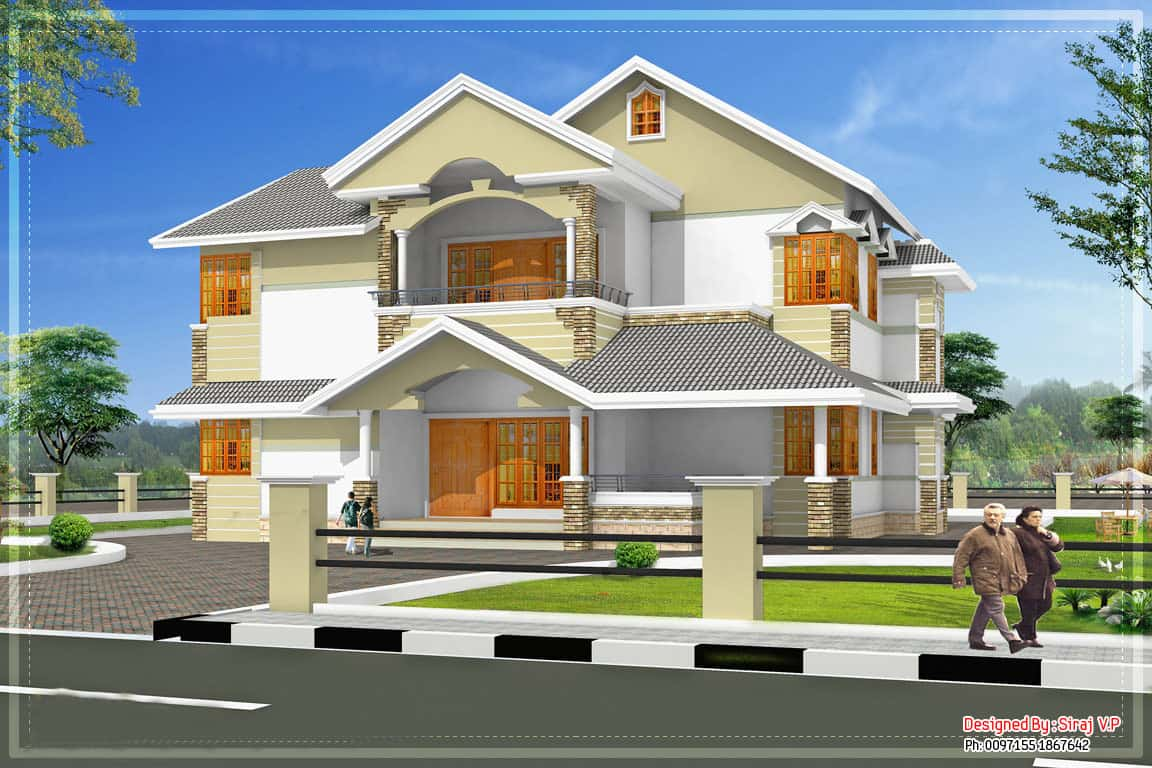 Sloping roof kerala villa elevation at 3700 for Kerala style villa plans