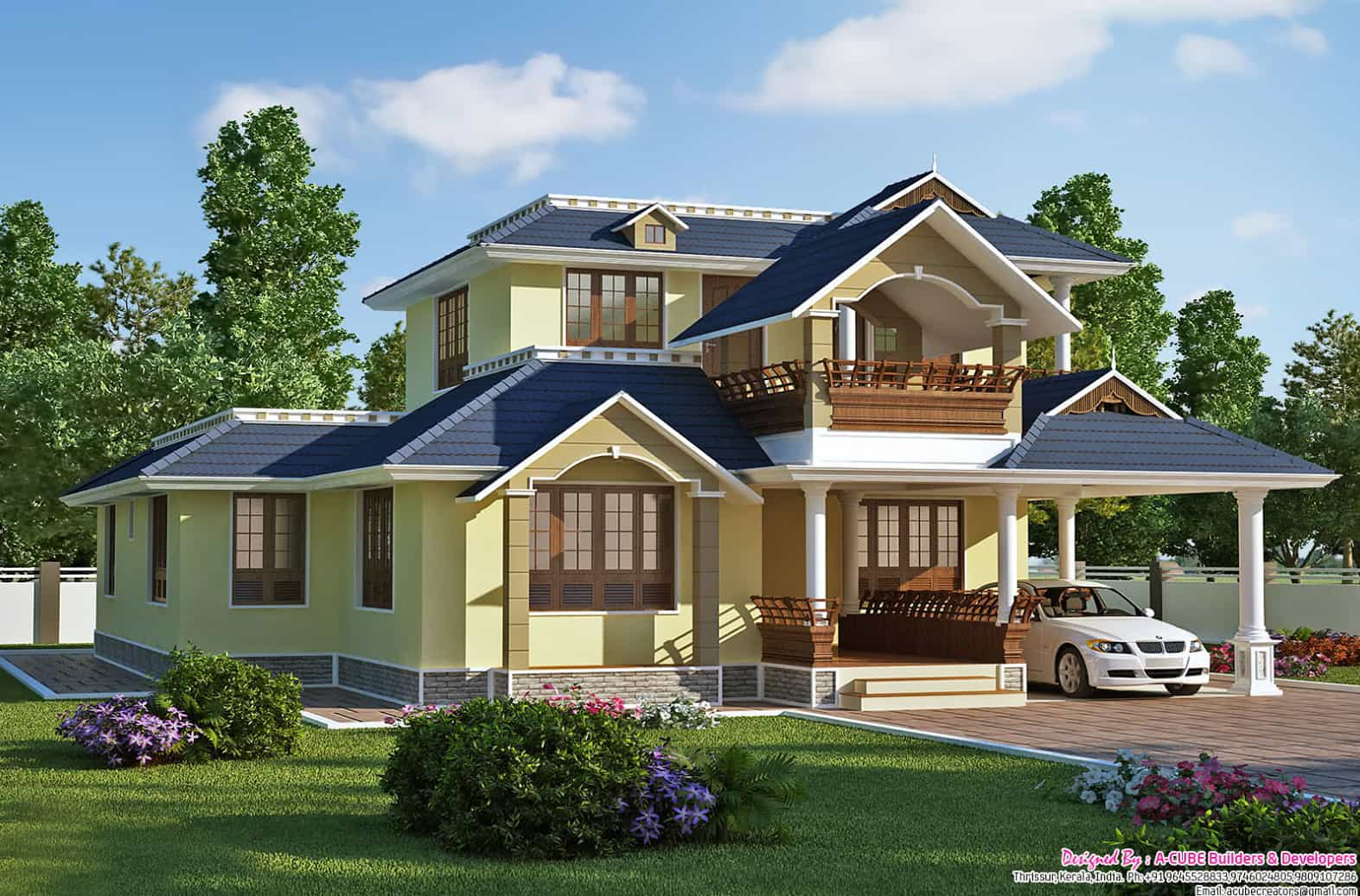 Roof Design Ideas: Exquisite Sloping Roof Villa Design
