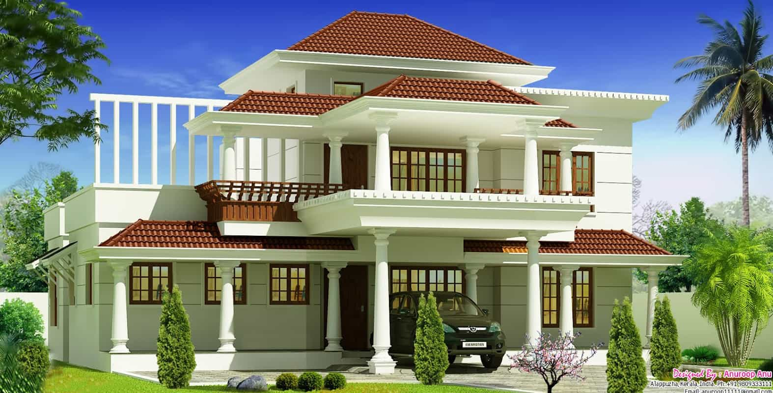 Beautiful kerala villa at 1700 for Traditional house building