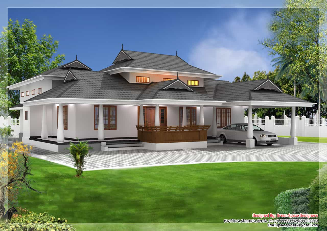 Traditional style kerala home 39 naalukettu 39 with nadumuttom for Home architecture design kerala