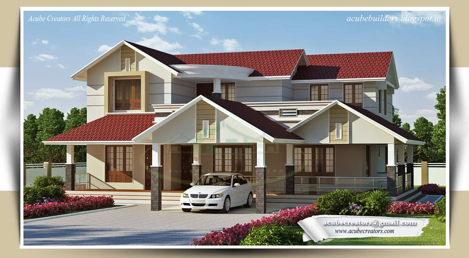 Beautiful kerala house design at 3268 for Kerala house photos