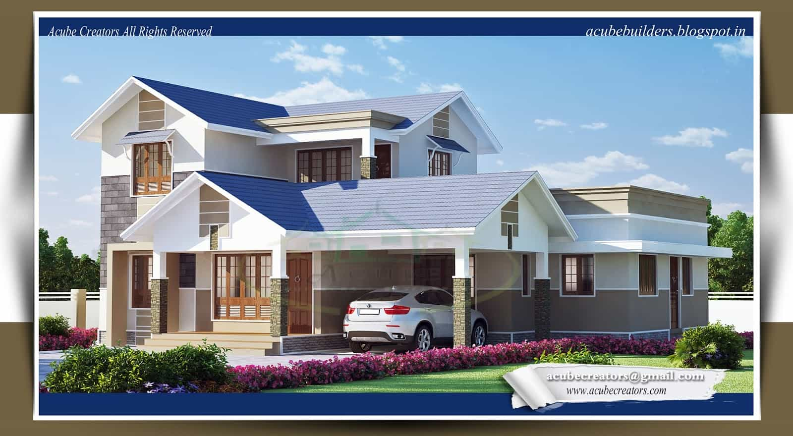 latest kerala style home design at 2169 sqft