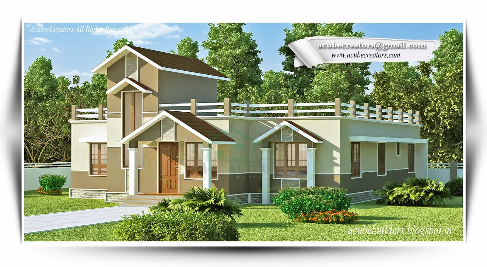 Beautiful low budget kerala house design at 1772 for Single home design