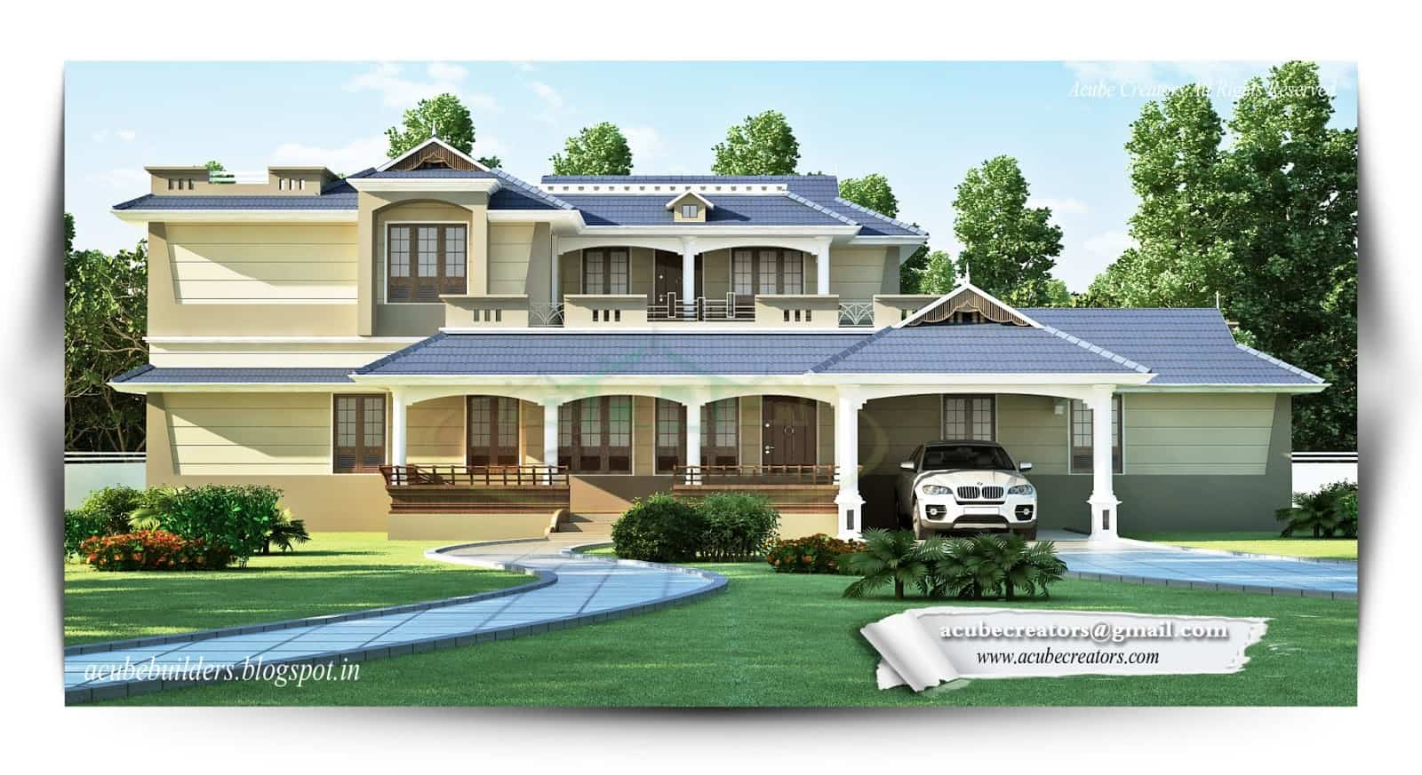 Two storey kerala house designs 2 18 keralahouseplanner for Kerala style villa plans