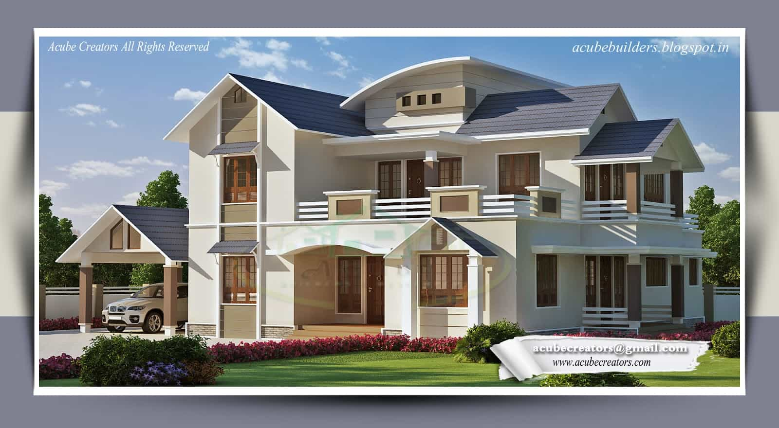 Two storey kerala house designs 2 18 keralahouseplanner for Bangalo design