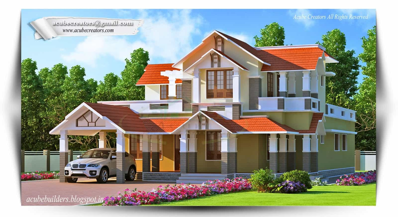 Two storey kerala house designs 2 18 keralahouseplanner for Two storey house plans in kerala