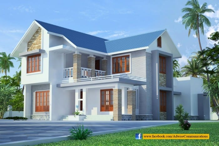 Sloped Roof Kerala home design at 2200 sq.ft
