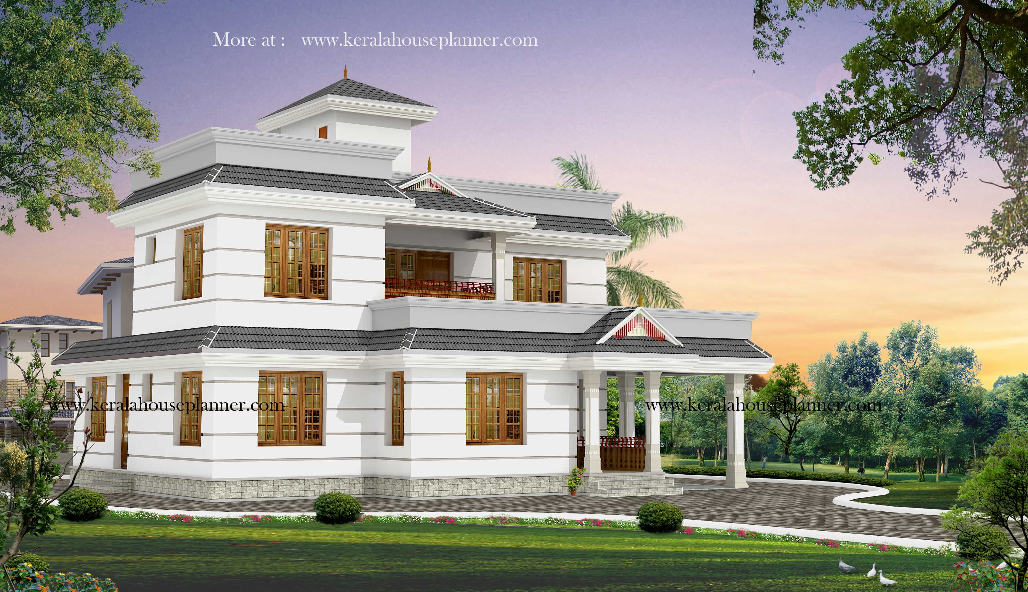 Two storey kerala house designs 2 18 keralahouseplanner for Latest house designs
