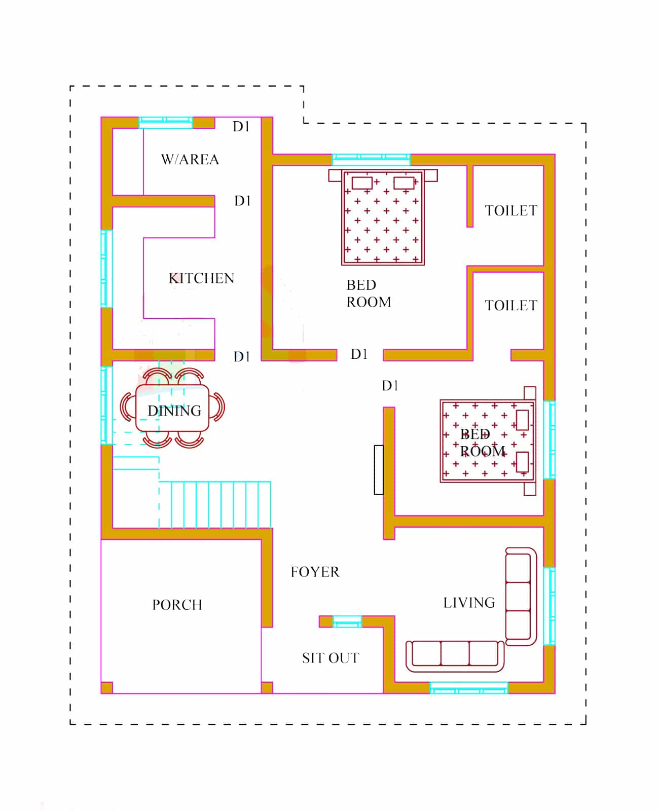 1x1.trans Kerala house plans at 1500 sq.ft at 20 Lakhs