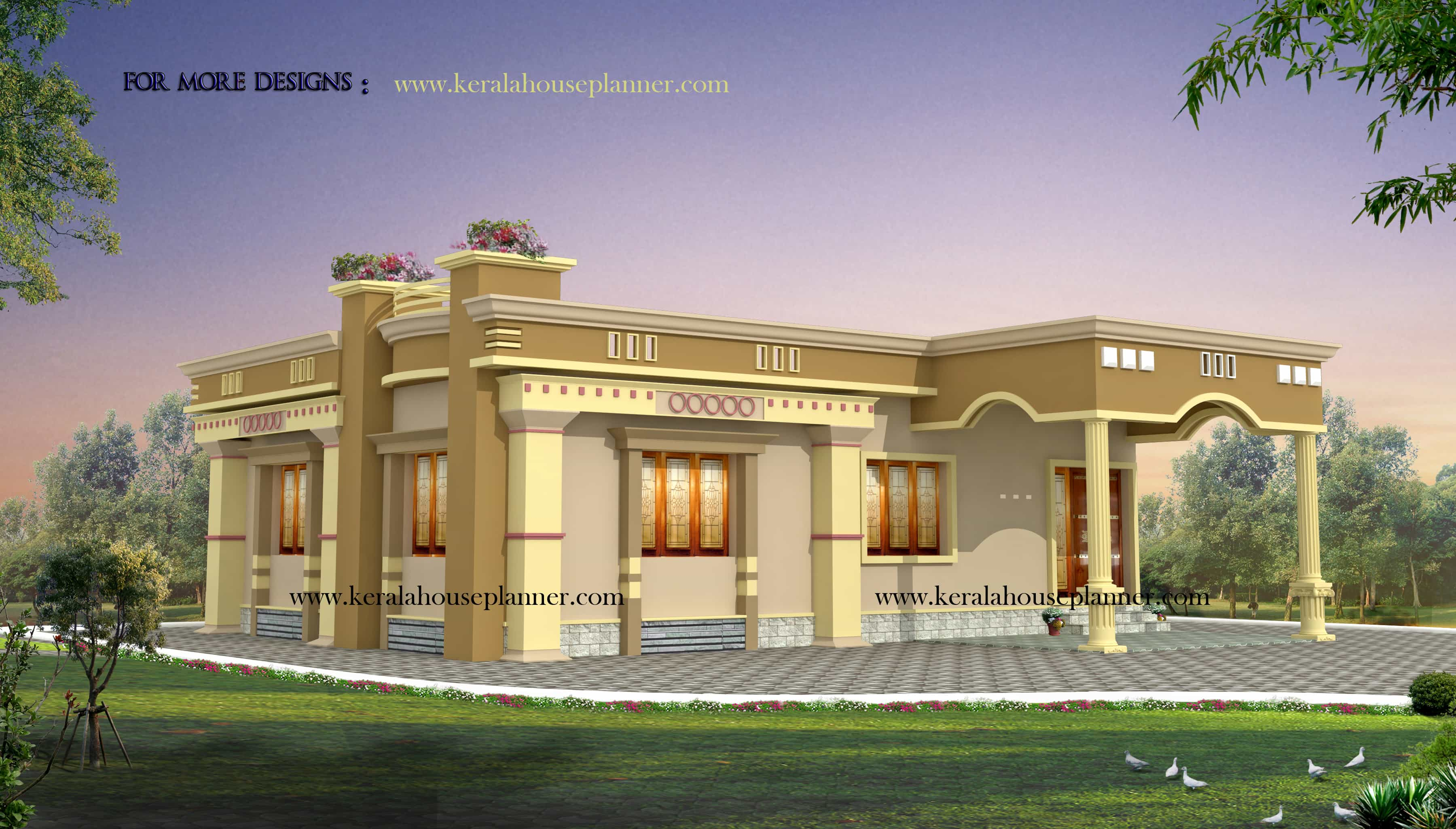 kerala house plans at 1200 for a 2 bhk cute home